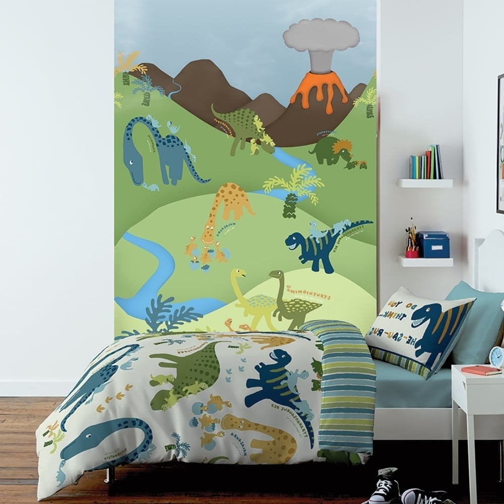 1 Wall Cartoon Dinosaur Pattern Childrens Mural Kids Wall Art  (View 1 of 20)