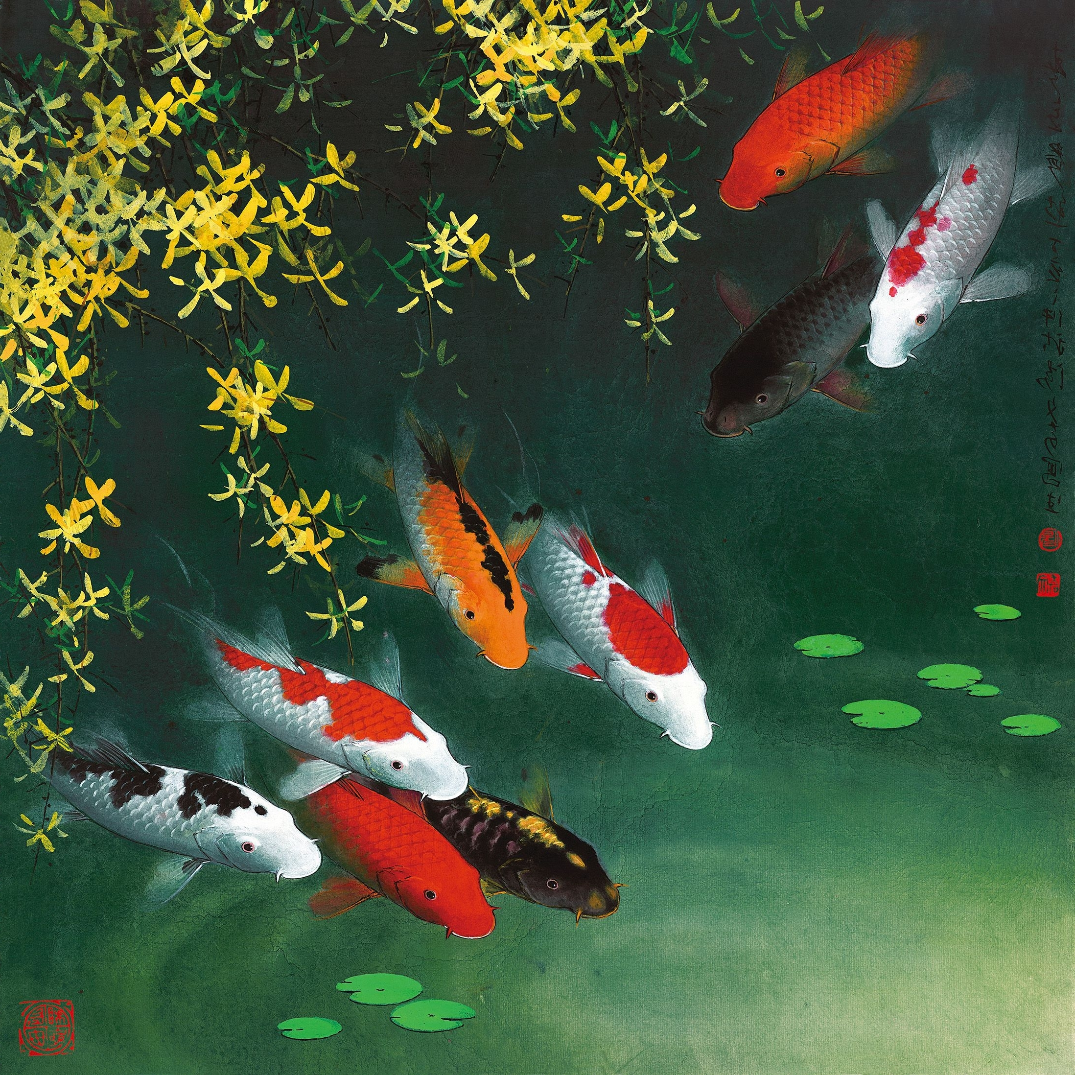 1523 Fine Art Paintings Giclee Art Prints On Canvas Koi Fish Wall For 2018 Fish Painting Wall Art (Gallery 13 of 20)