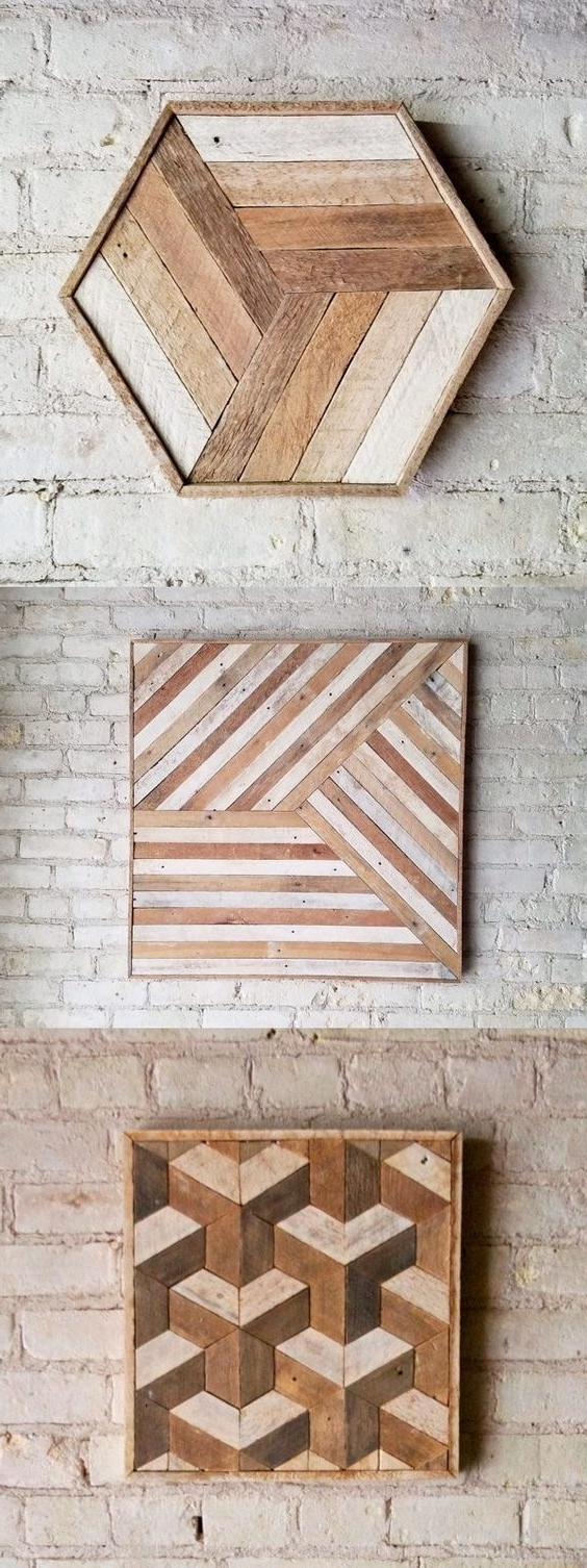 17 Best Diy Wall Art Projects: 1.wood Pattern Art – Diy Crafts You Inside Popular Diy Wood Wall Art (Gallery 14 of 20)
