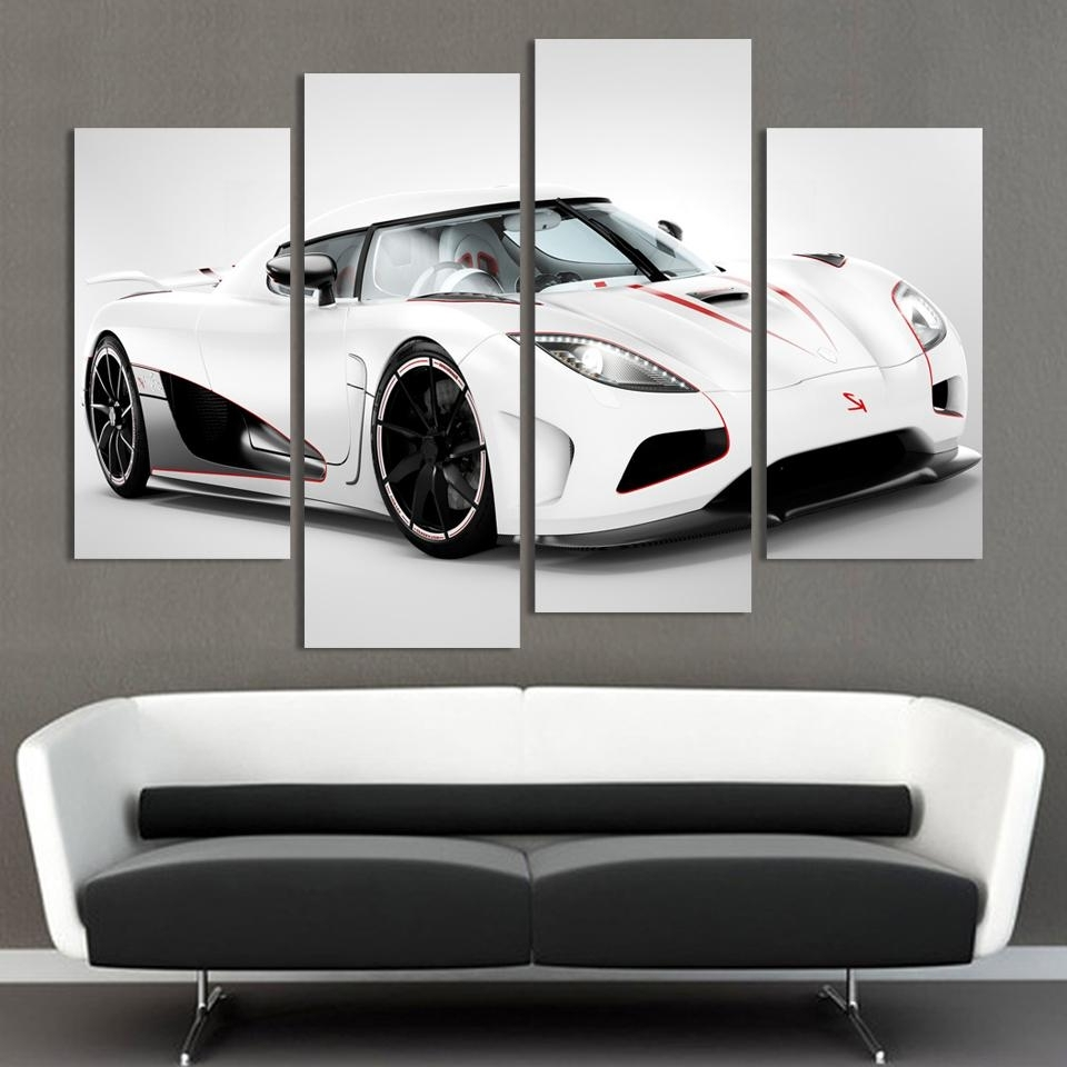 2016 4 Pcs White Sports Car Wall Art Painting Home Decoration Living For Most Popular Car Canvas Wall Art (Gallery 12 of 20)