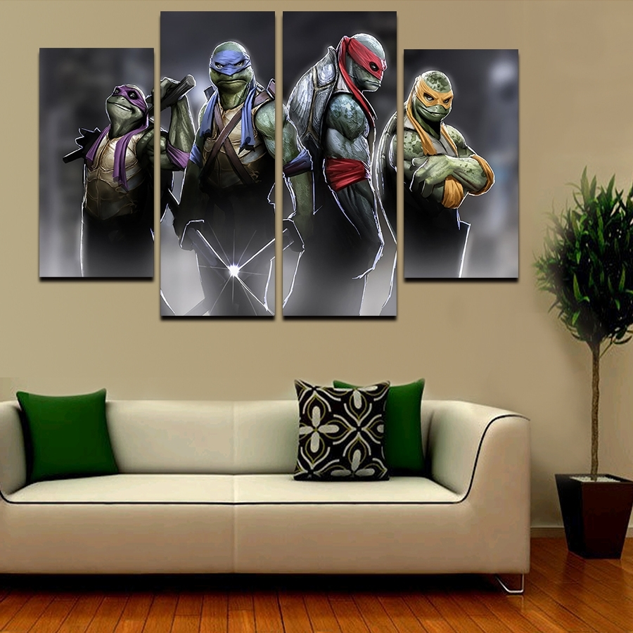 2016 5 Pcs Large Hd Teenage Mutant Ninja Turtles With Abstract Pertaining To Well Known Ninja Turtle Wall Art (Gallery 1 of 20)
