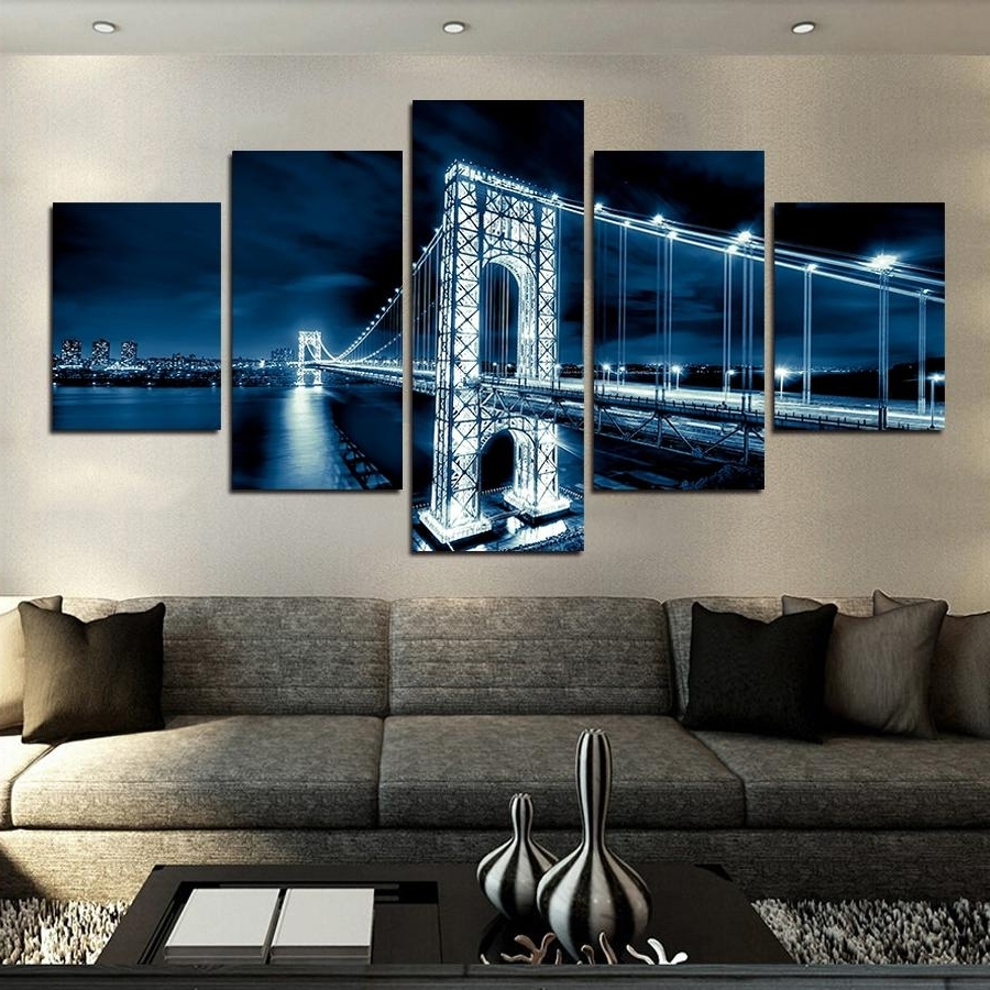 2017 2018 No Frames Large Hd Coastal Bridge Canvas Print Painting For Throughout Large Coastal Wall Art (View 14 of 20)