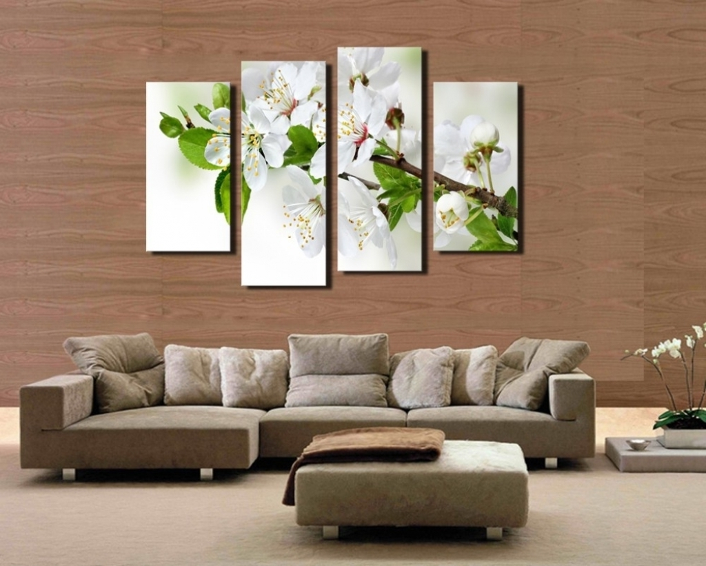 2017 4 Pcs Popular Hd Modern Wall Painting White And Green Flowers Home Inside Popular Wall Art (Gallery 3 of 20)