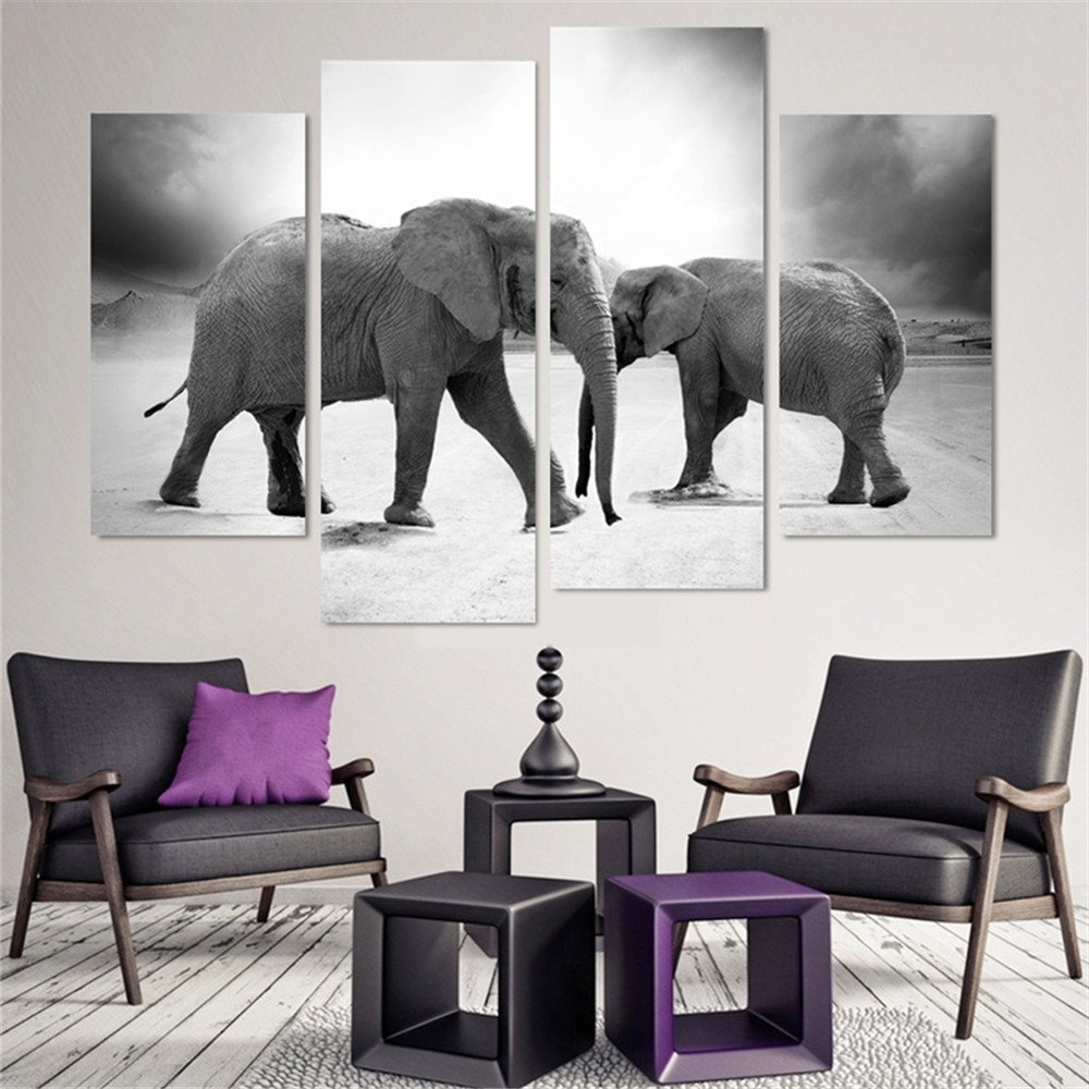 2017 4 Pcs(No Frame) Elephant Painting Canvas Wall Art Picture Home Pertaining To Elephant Canvas Wall Art (Gallery 16 of 20)