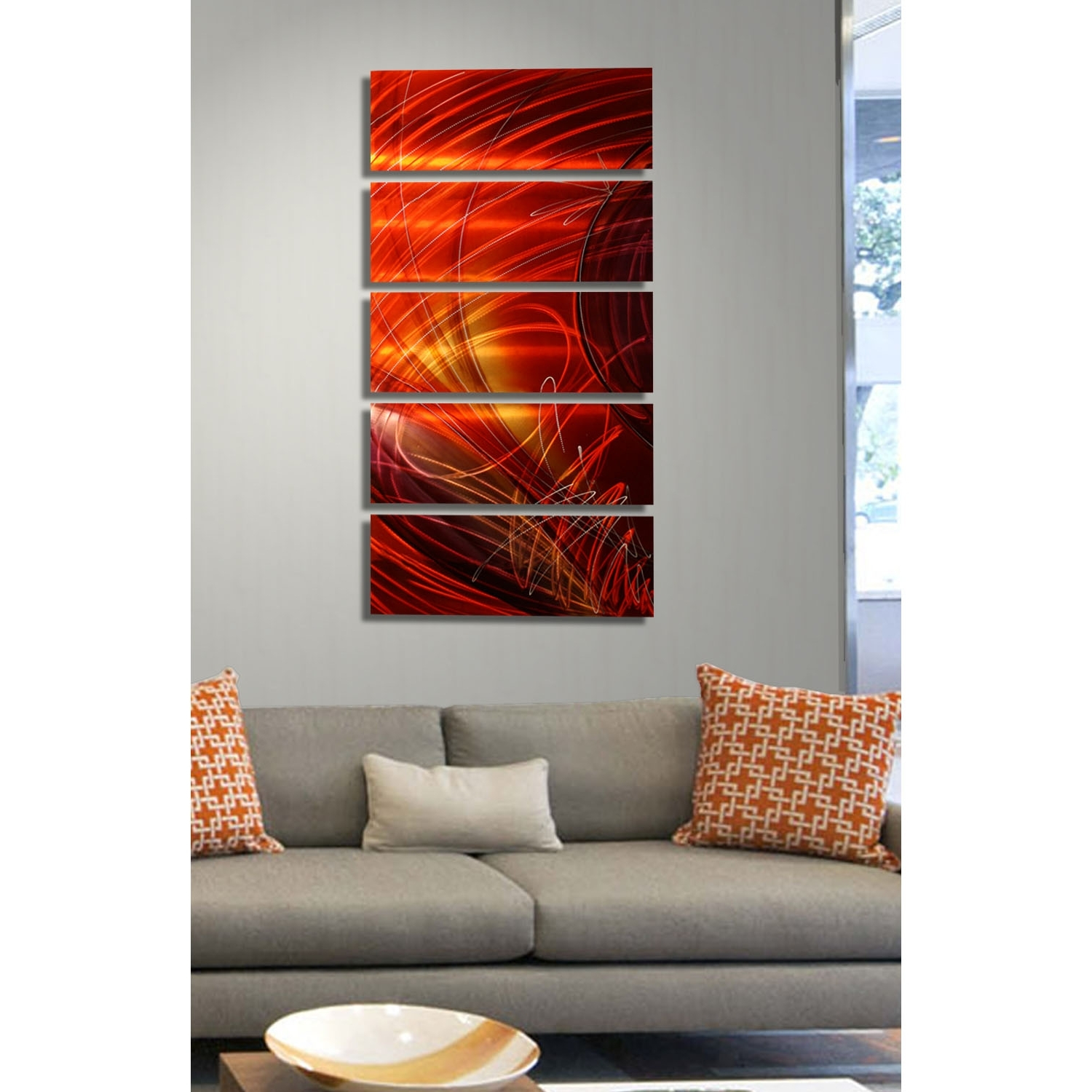 2017 5 Panel Wall Art In Ruby Sky – Red, Gold And Purple Metal Wall Art – 5 Panel Wall Décor (View 1 of 20)