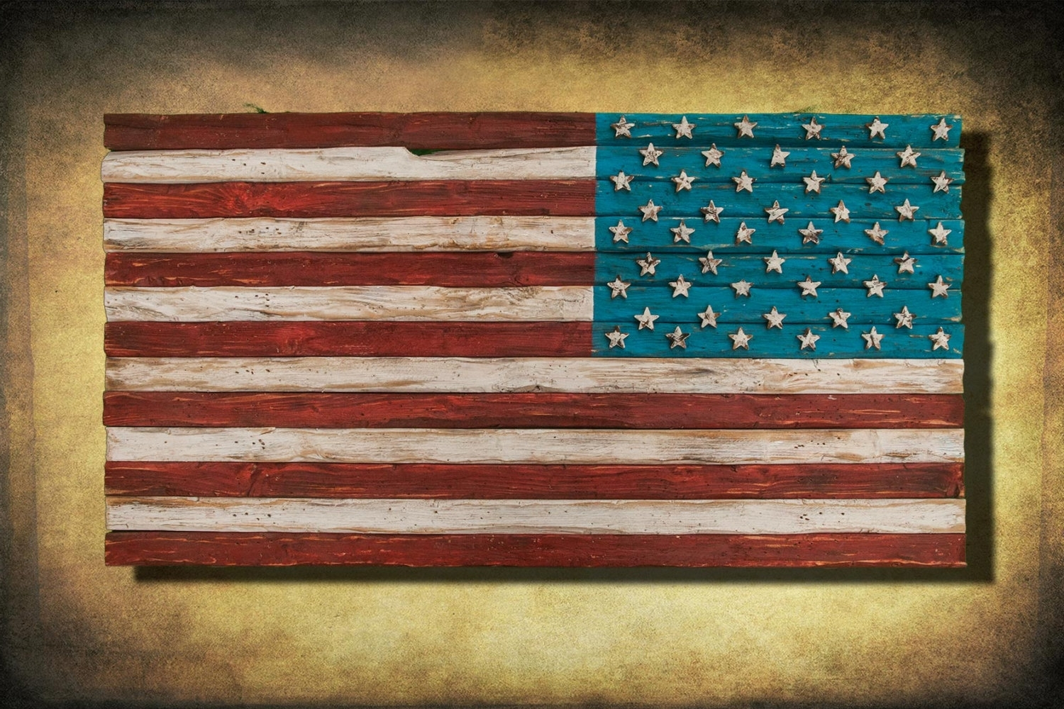 2017 American Flag, Weathered Wood, One Of A Kind, 3D, Wooden, Vintage In Vintage American Flag Wall Art (Gallery 9 of 20)