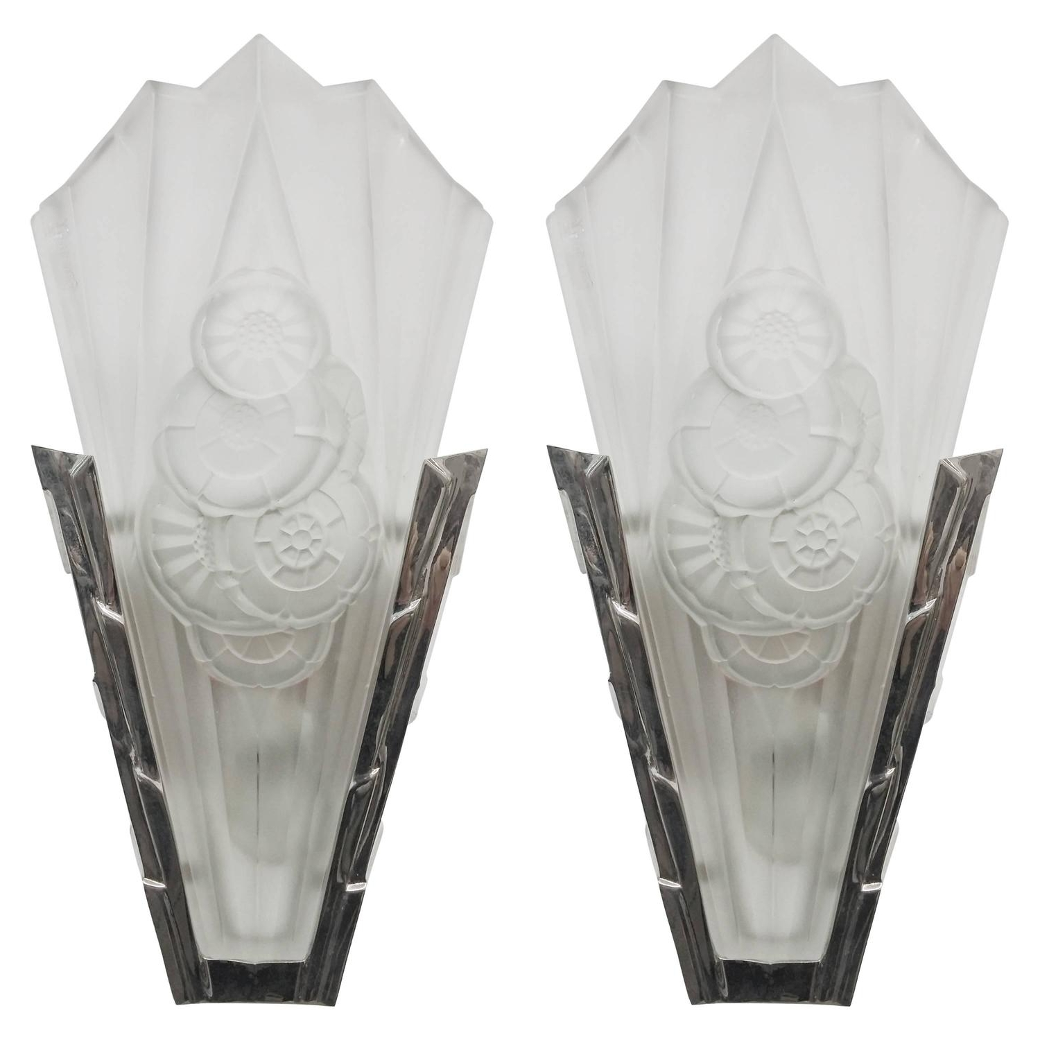 2017 Art Deco Wall Sconces With Regard To Pair Of French Art Deco Wall Sconces Signeddegue For Sale At 1stdibs (View 17 of 20)