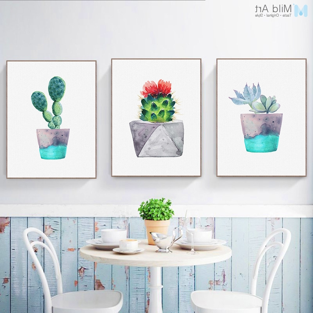 2017 Cactus Wall Art For Nordic Watercolor Green Plant Cactus Poster Succulent A4 Modern Wall (View 3 of 20)