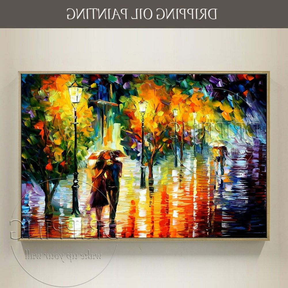 2017 Colorful Wall Art With Regard To Artist Hand Painted Colorful Wall Art Abstract Scenery Lovers Oil (Gallery 8 of 20)