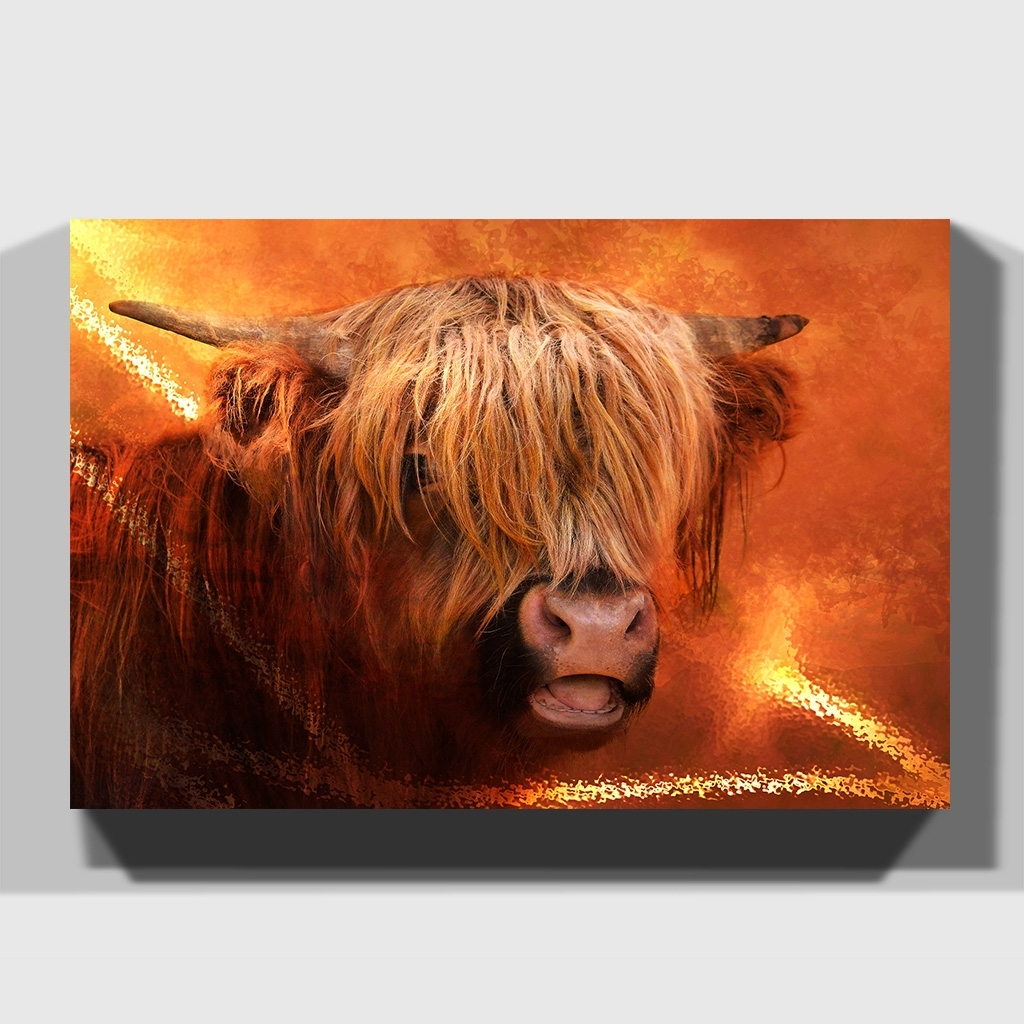 2017 Cow Canvas Wall Art With Canvas Print Various Size Wall Art Highland Cow (View 2 of 20)
