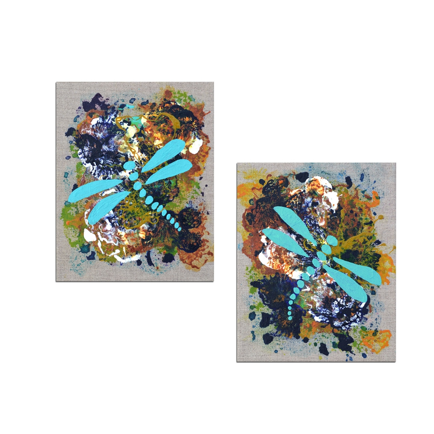 2017 Dragonfly Painting Wall Art In Home Decor Art: The Versatility Of Diptych Paintings (View 3 of 20)