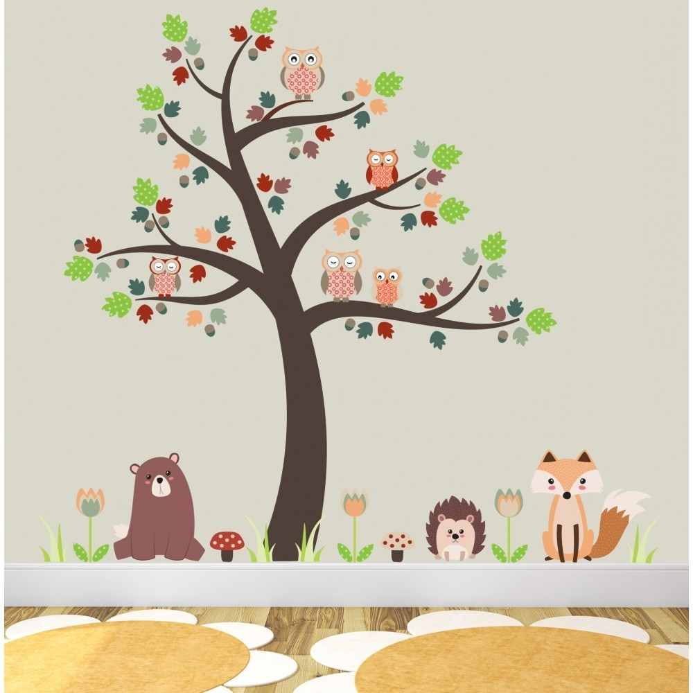 2017 Fox And Owls Nursery Wall Stickers Pertaining To Woodland Nursery Wall Art (View 1 of 20)