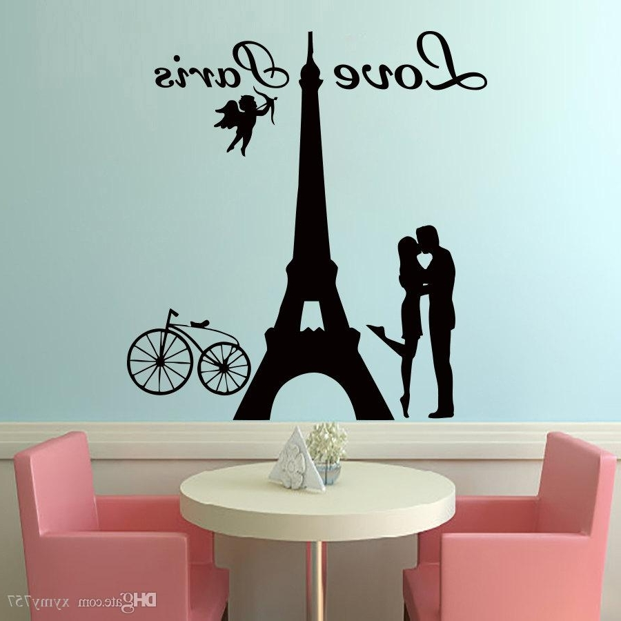 2017 Hot Sale Angels Love Paris Wall Decals Lover Kissing And Bike Inside Most Popular Art For Walls (View 1 of 20)