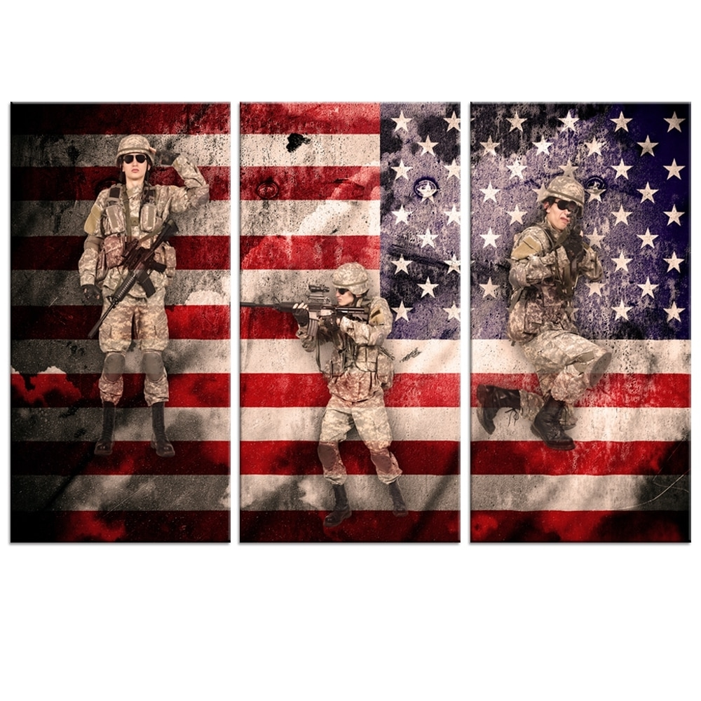 2017 Hot Sale Vintage Metro American Flag Canvas Wall Art Military Family Throughout Vintage American Flag Wall Art (View 20 of 20)