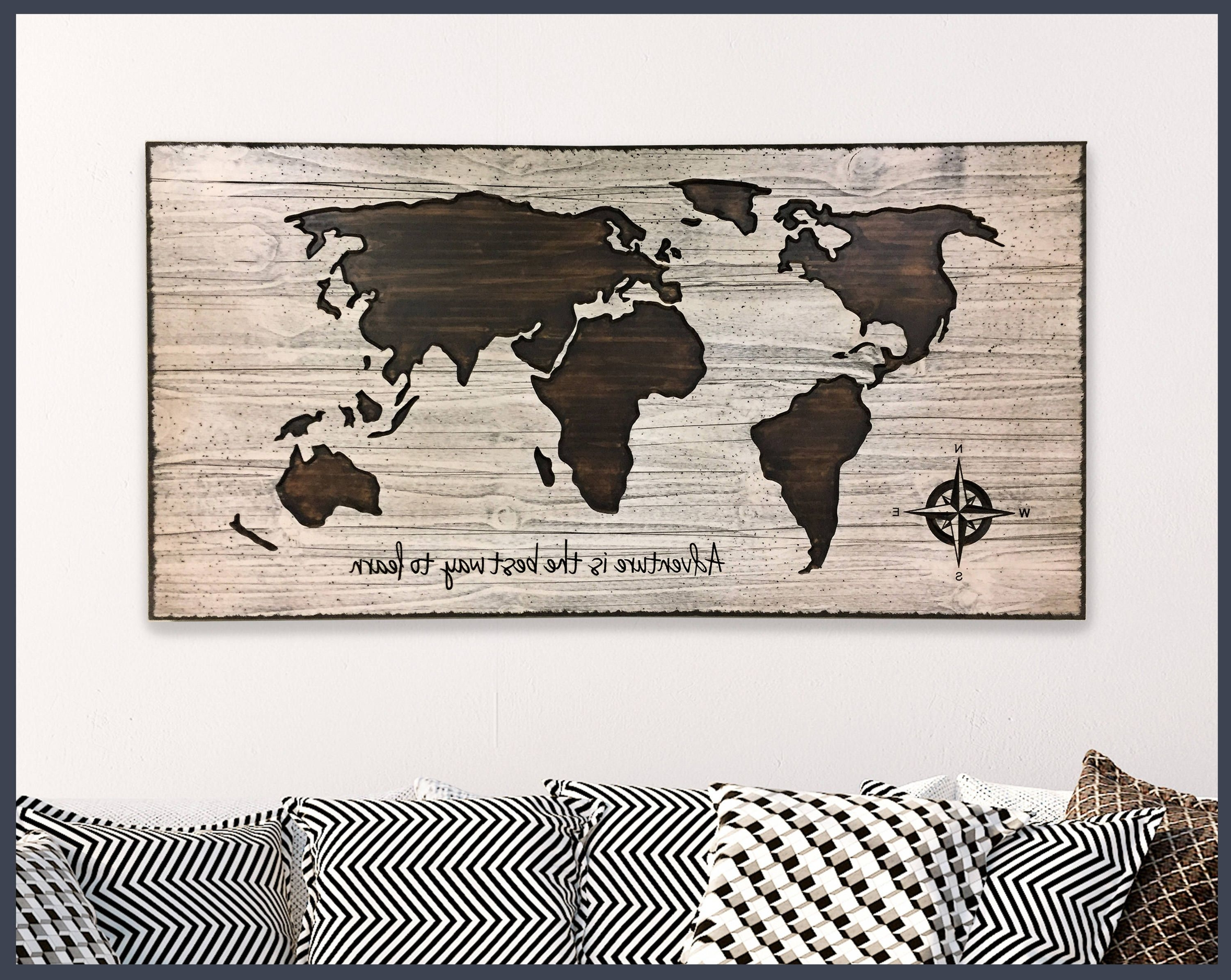 2017 Map Wall Decor, Home Wall Decor, Wood Wall Art, Wooden Map, World With Regard To Map Of The World Wall Art (View 1 of 20)