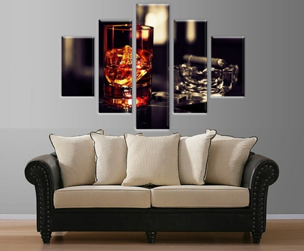 2017 Multi Piece Wall Art With Regard To 5 Pieces Multi Panel Wine Glass Picture Printed On Canvas Wall Art (View 1 of 20)