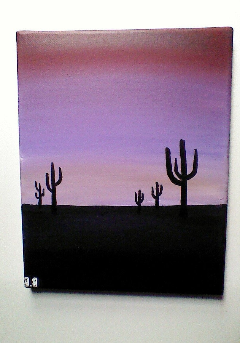 2017 Original Arizona Sunset With Cactus Acrylic Painting, Nature Scenery Throughout Arizona Wall Art (View 2 of 20)