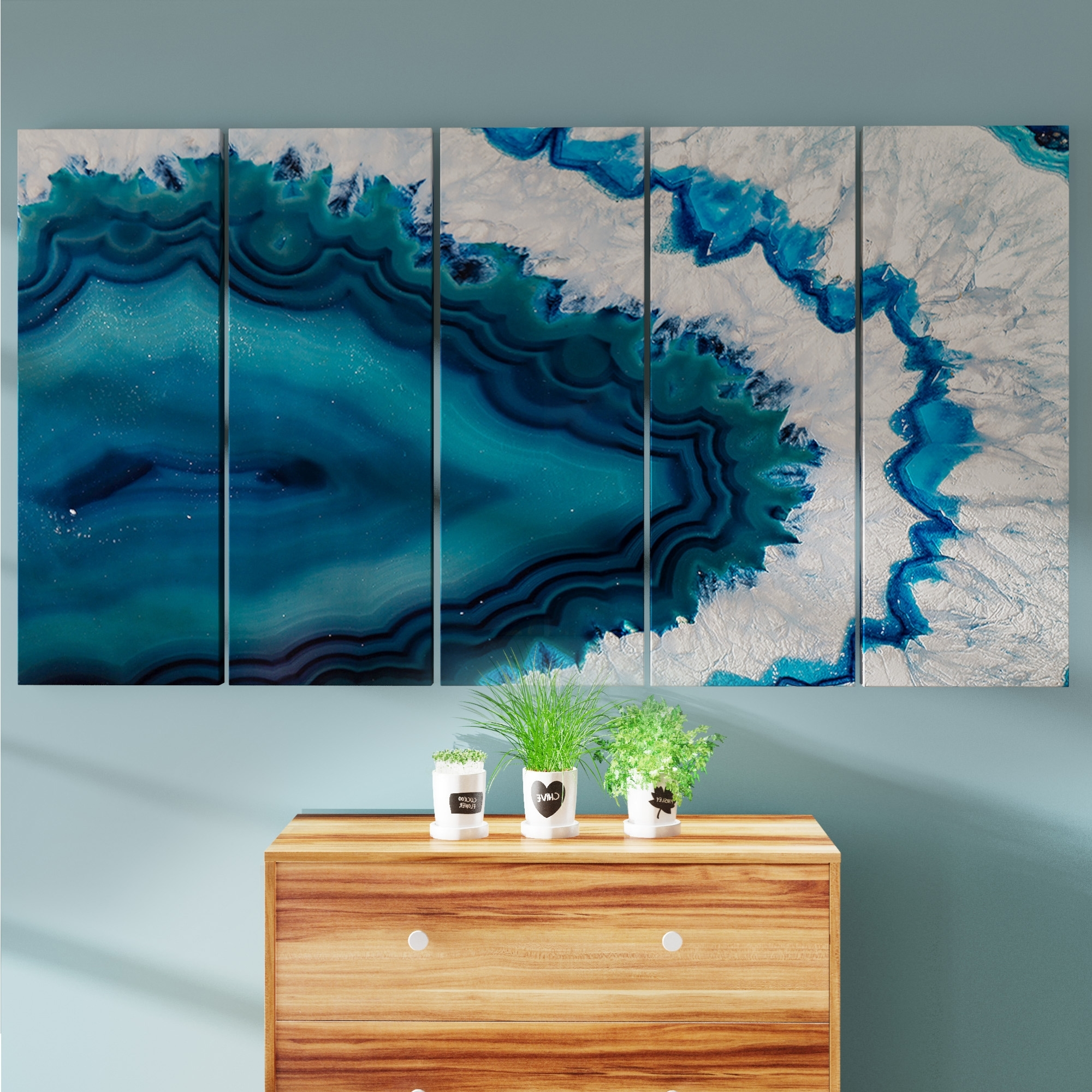 2017 Overstock Wall Art Inside Shop Porch & Den Blue Brazilian Geode' Abstract Canvas Wall Art (View 8 of 20)