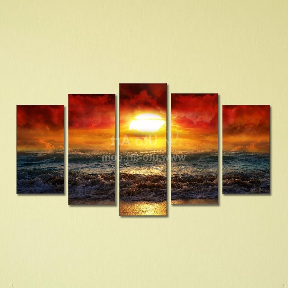 2017 Panel Wall Art Pertaining To Best Cheap 5 Panel Wall Art Painting Ocean Beach Decor Canvas Prints (Gallery 4 of 20)