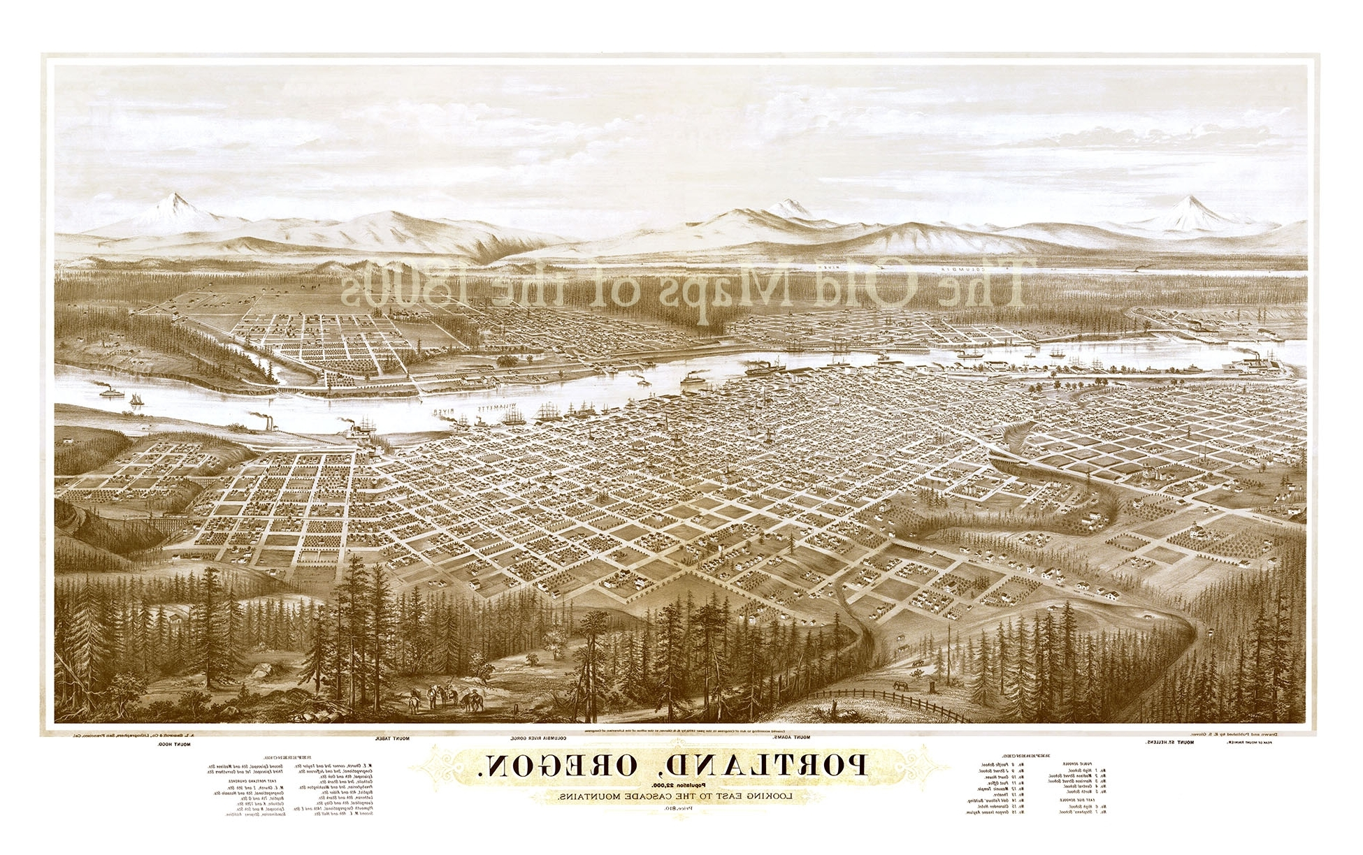 2017 Portland Map Wall Art Throughout Portland, Oregon In 1879 – Bird's Eye View Map, Aerial Map, Panorama (View 1 of 20)
