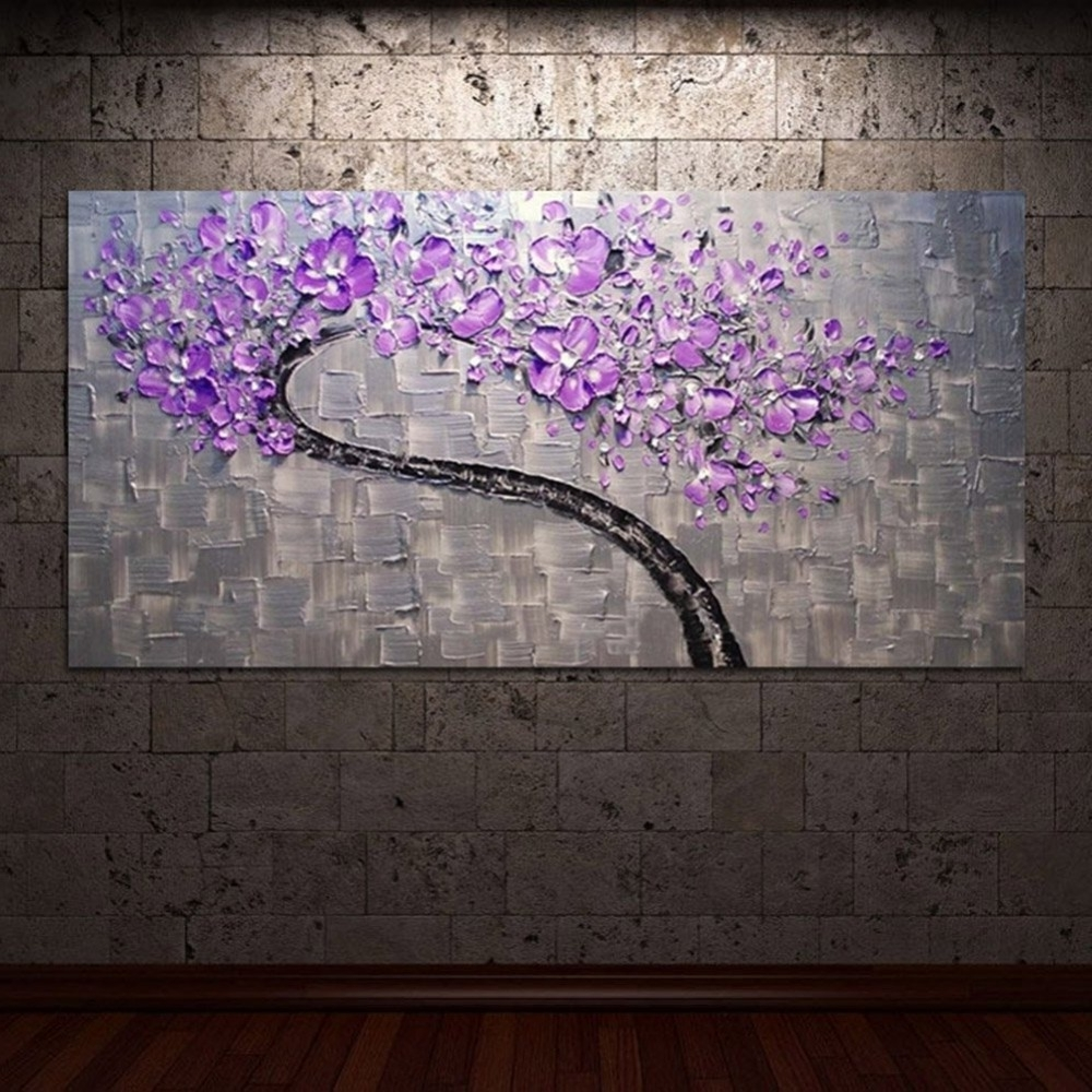 2017 Purple And Grey Wall Art Regarding Living Room Hall Wall Art Handmade Landscape Oil Paintings On Canvas (View 1 of 20)