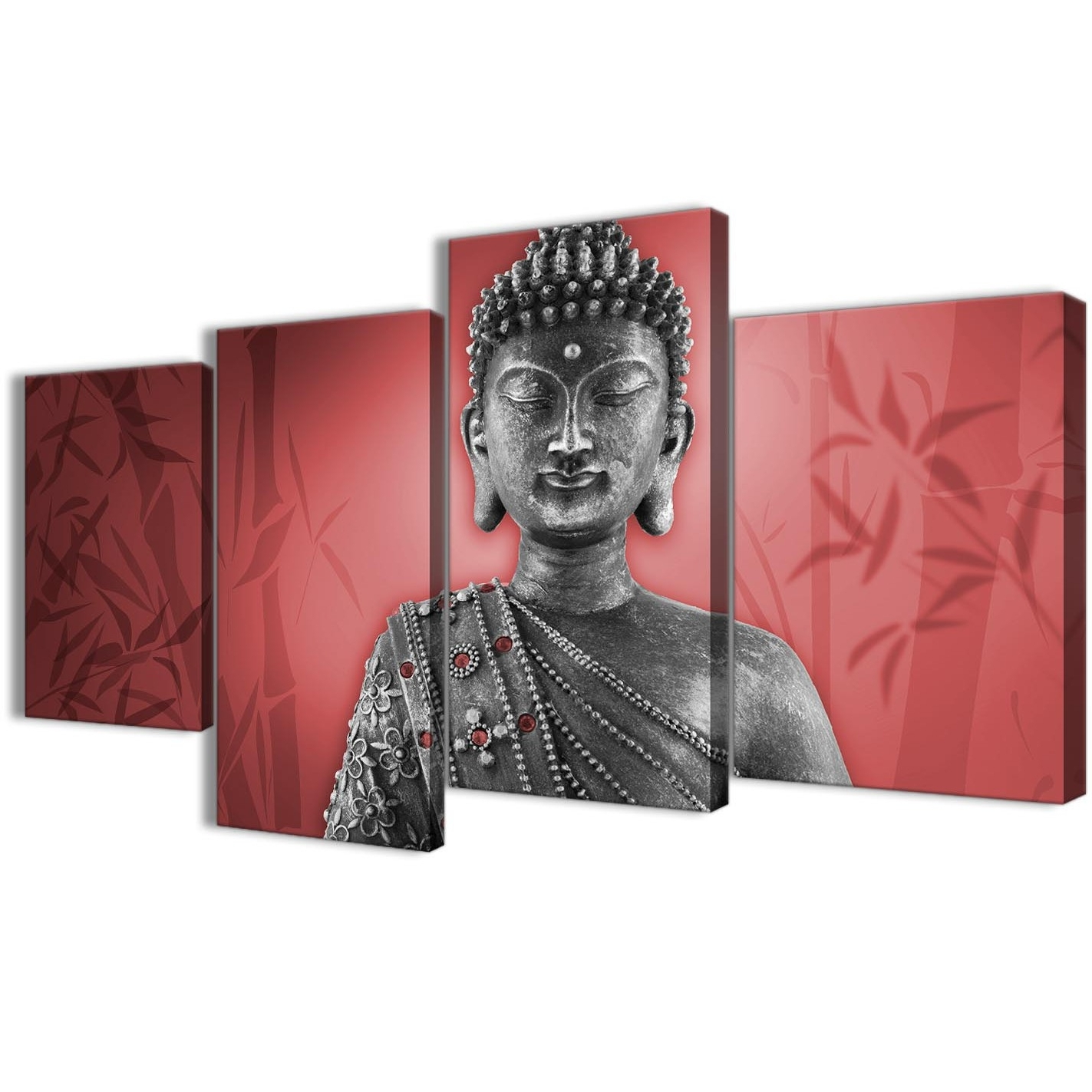 2017 Silver Wall Art Throughout Large Red And Grey Silver Canvas Art Prints Of Buddha – Split 4 (Gallery 15 of 20)