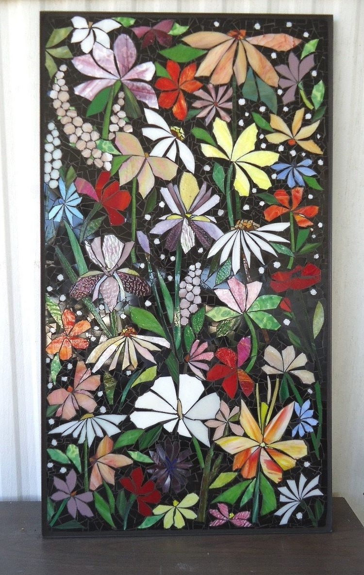 2017 Stained Glass Wall Art With Regard To Exterior Mosaic Wall Art Stained Glass Wall Decor Floral Garden (View 1 of 20)