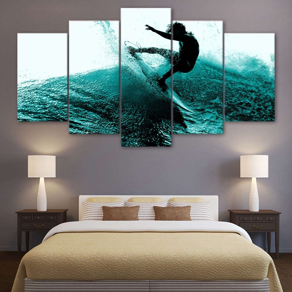 2017 Surfing Hitting The Waves Wall Art Multi Panel Canvas – Mighty Paintings With Panel Wall Art (View 2 of 20)