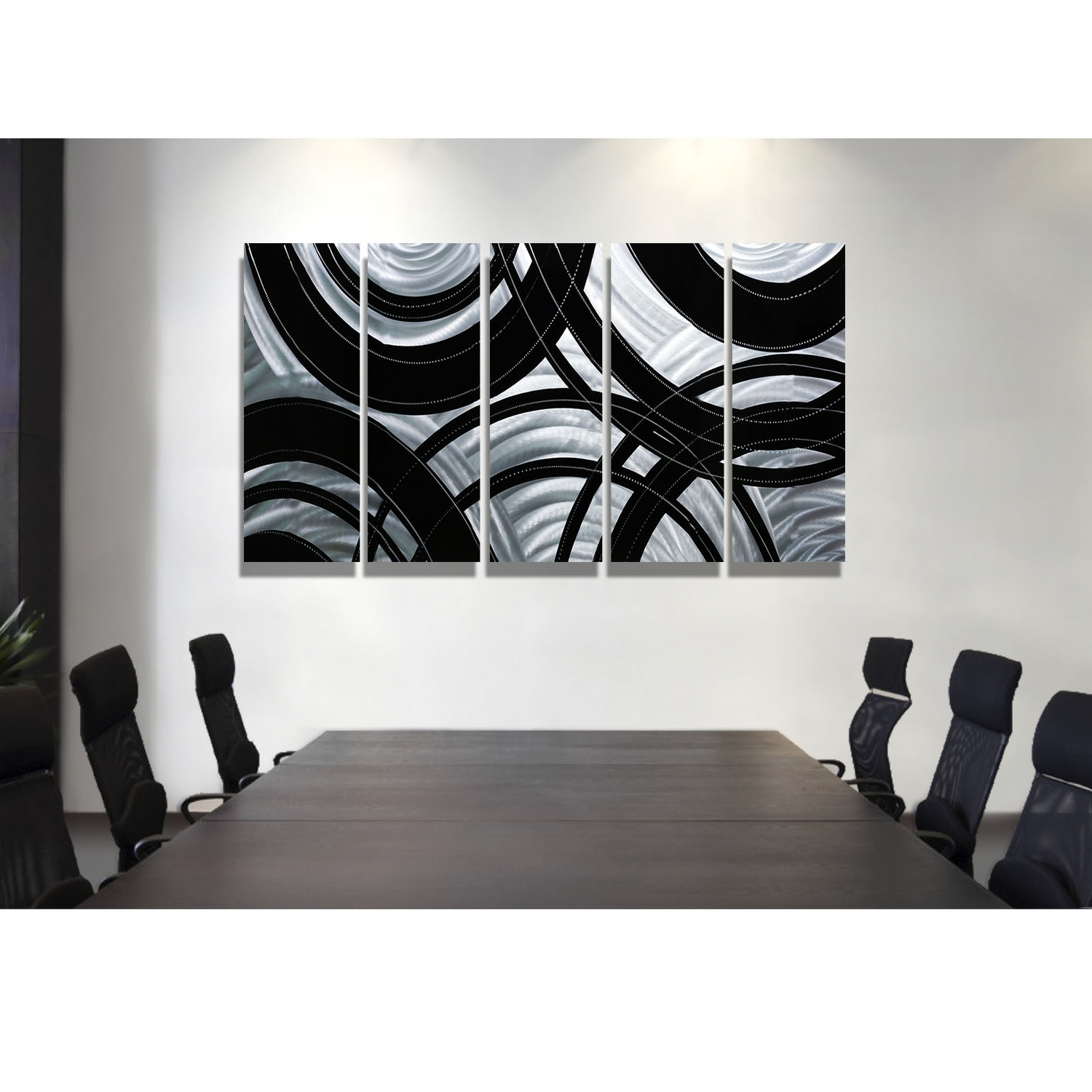 2017 Synergy – Black And Silver Metal Wall Art – 5 Panel Wall Décor Pertaining To Silver Wall Art (View 2 of 20)