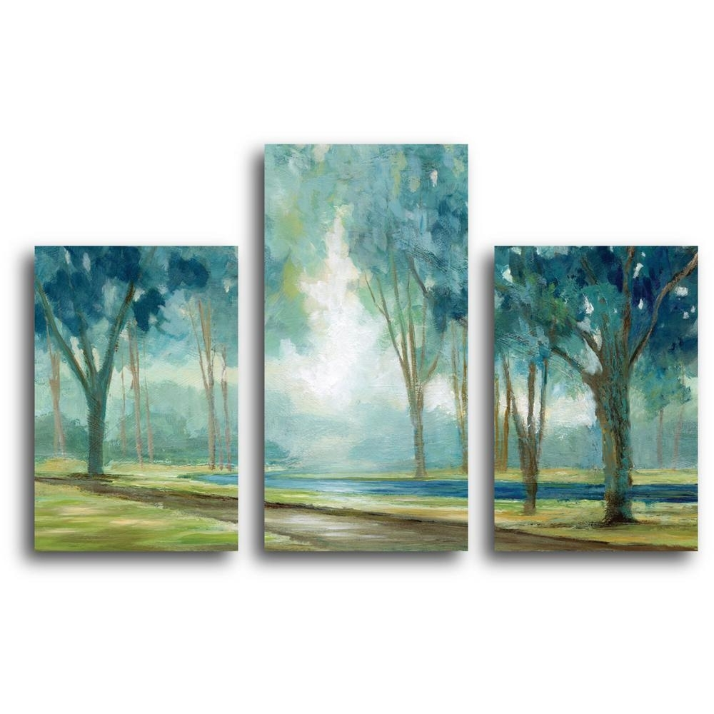2017 Teal Wall Art Throughout Courtside Market Teal Tranquil Tree Canvas Wall Art Web Mcls181b (View 11 of 15)
