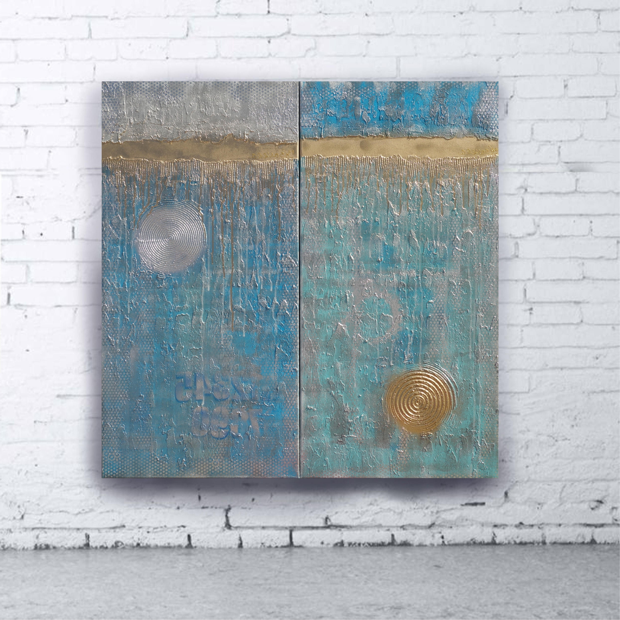 2017 Turquoise Wall Art In Turquoise Gold Abstract Painting Vertical Textured Wall Art A228  (View 1 of 20)