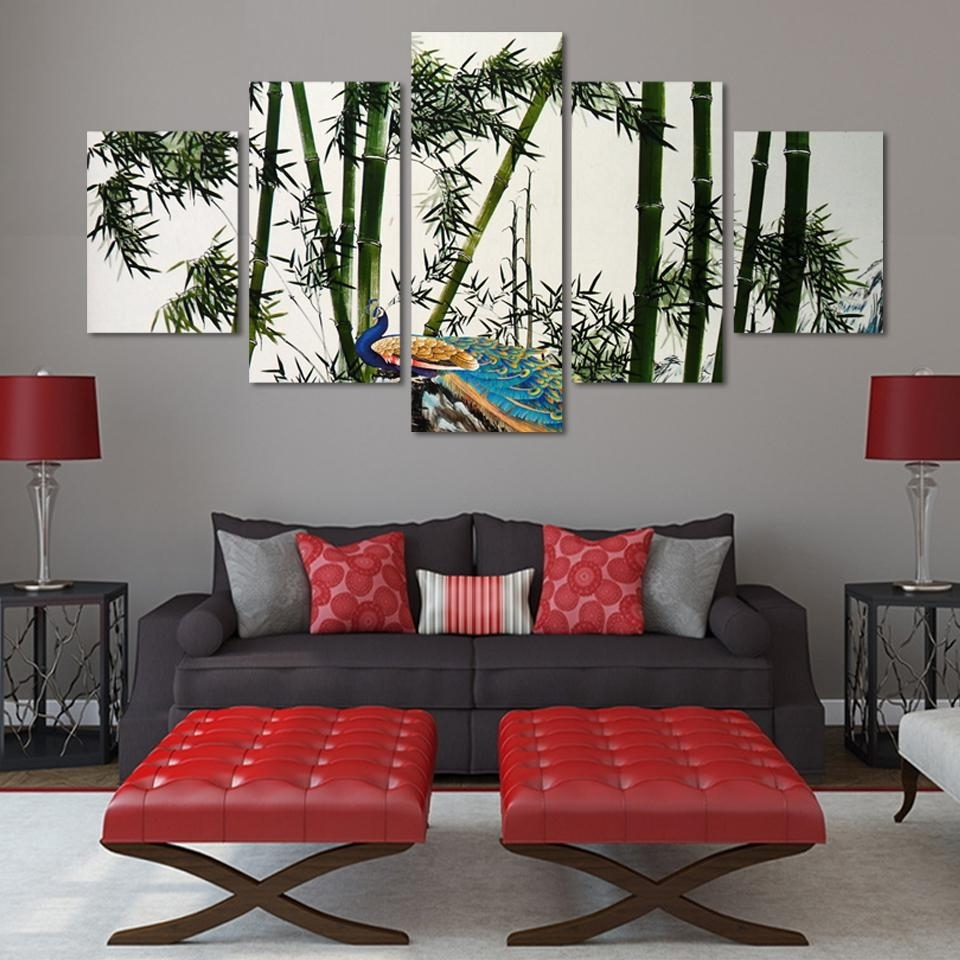 2017 Unframed 5 Panels Bamboo And Peacock Modern Wall Painting Green Intended For Bamboo Wall Art (View 1 of 20)