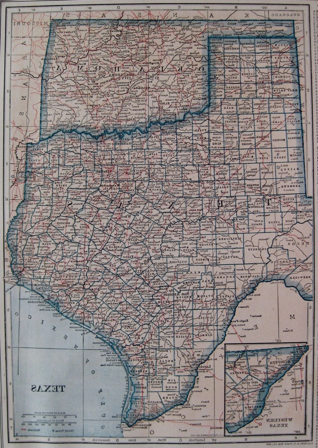 2017 Usa Map Wall Art Regarding 1928 Antique Texas Map Oklahoma Map Of Texas State Map Of Oklahoma (Gallery 7 of 20)