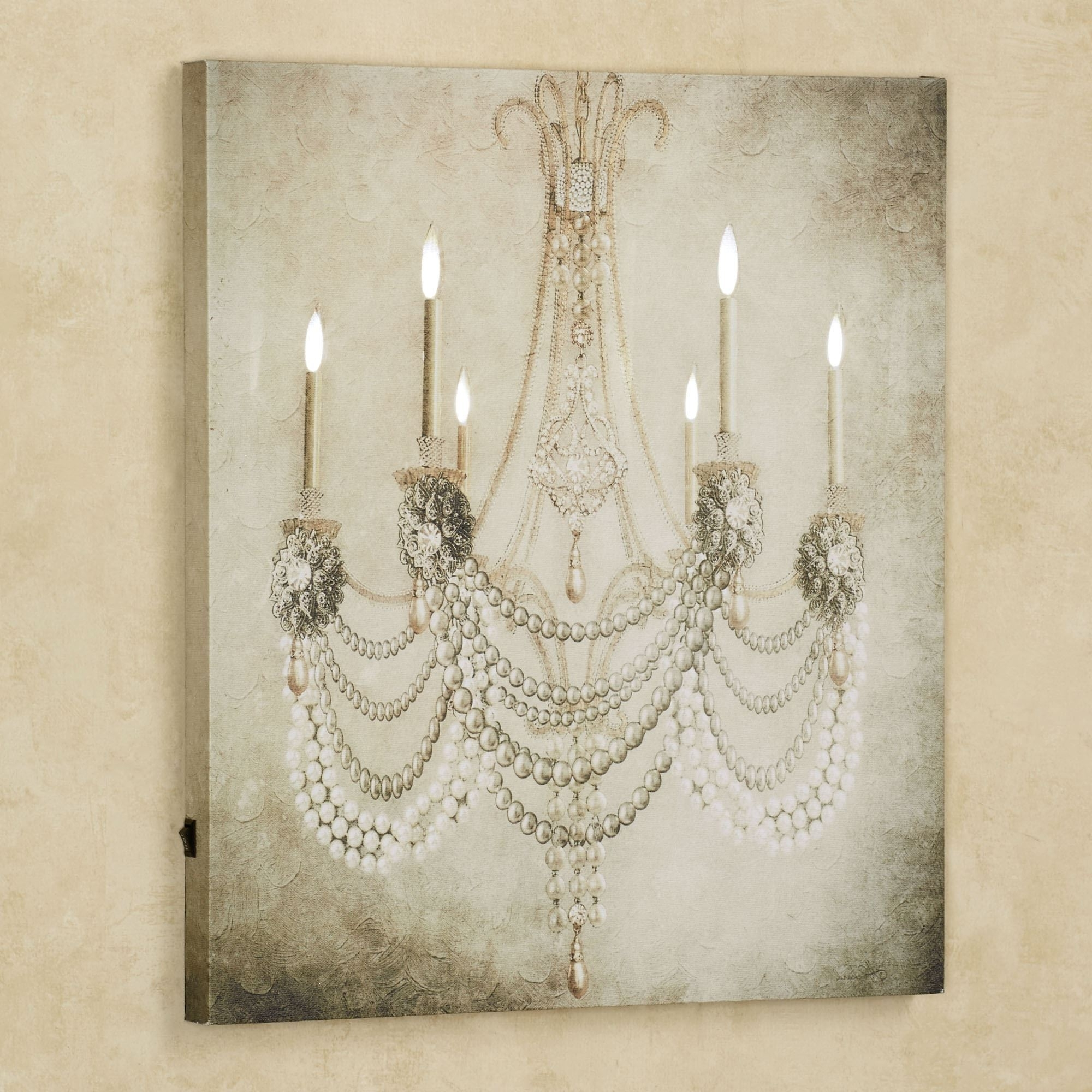 2017 Vintage Chandelier Led Lighted Canvas Art In Chandelier Wall Art (View 1 of 20)