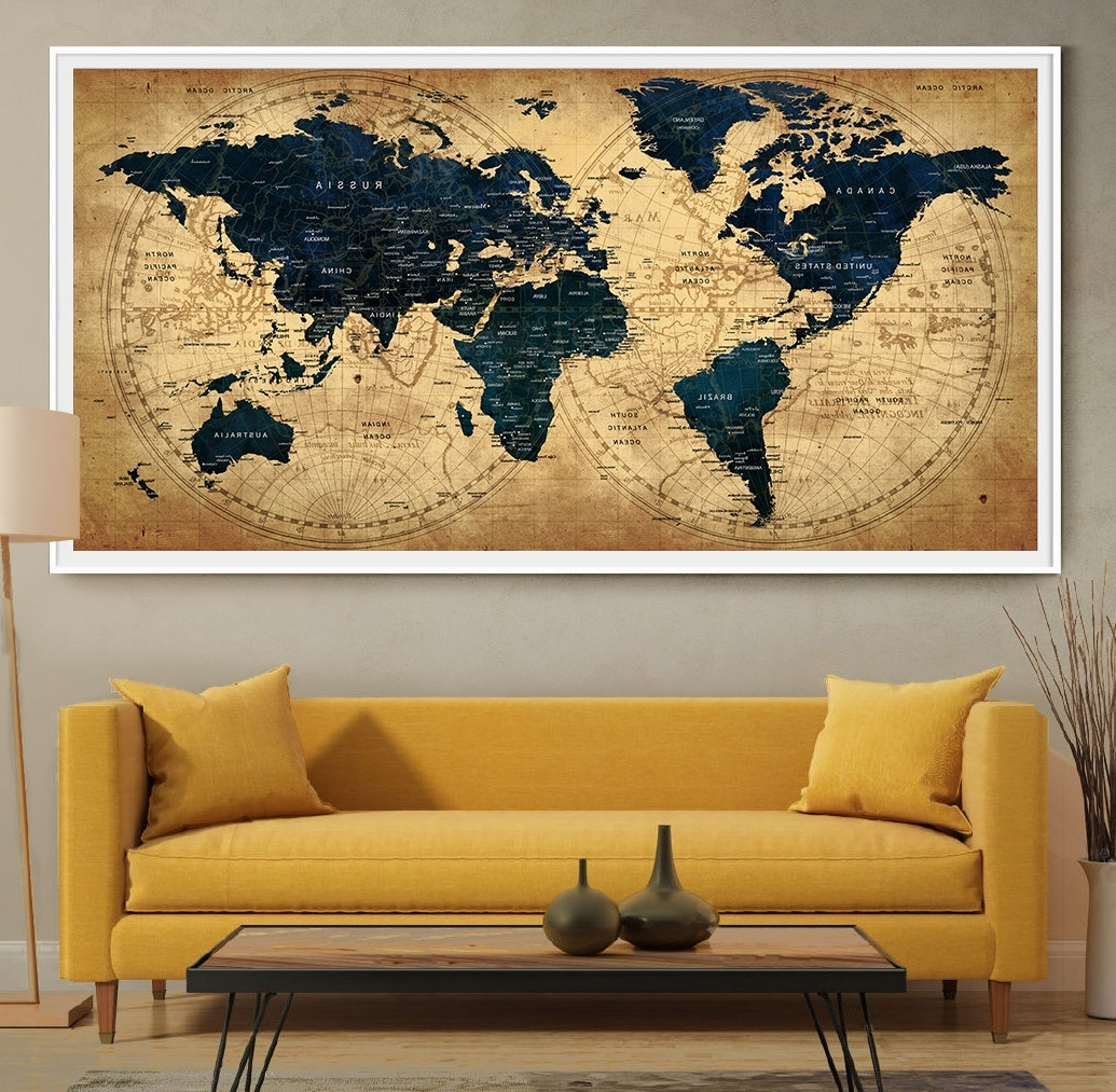 2017 Wall Art World Map Inside Decorative Extra Large World Map Push Pin Travel Wall Art For (View 2 of 20)