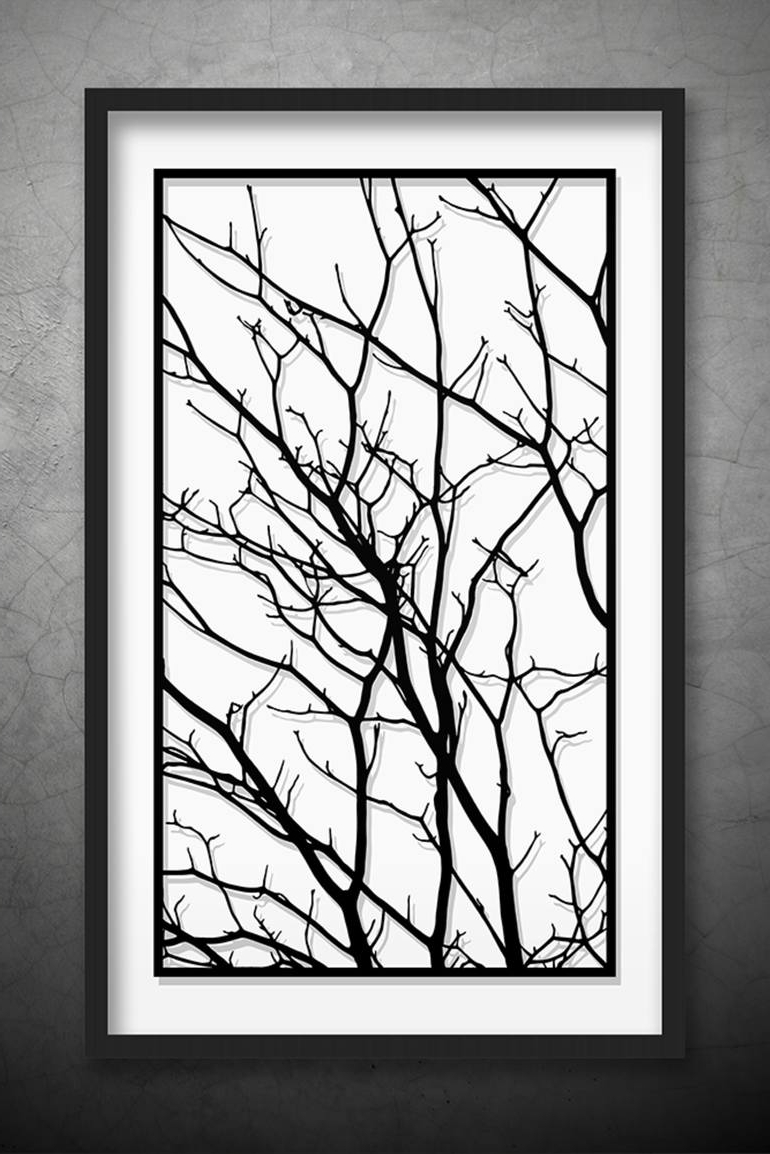 2017 White Wall Art In Saatchi Art: Tree Branches Original Paper Cut Art, Black And White (View 1 of 20)
