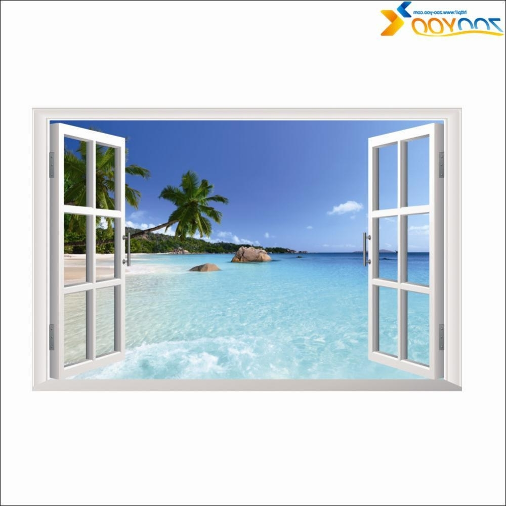 2017 Window Frame Whole View Stickers Zooyoo1430 3D Wall Mural Wall Art Inside Window Frame Wall Art (View 1 of 15)