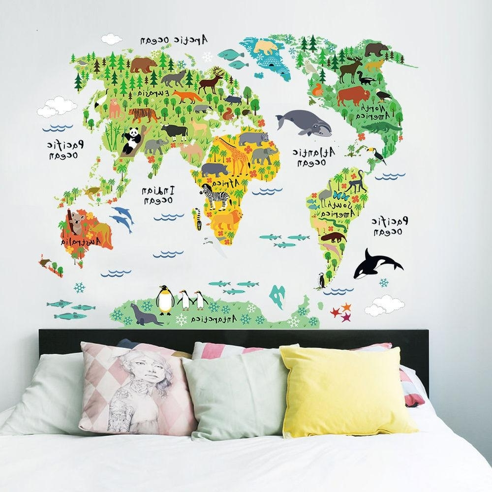 2017 World Map Wall Art For Kids Regarding Colorful World Map Wall Sticker Decal Vinyl Art Kids Room Office (Gallery 1 of 20)