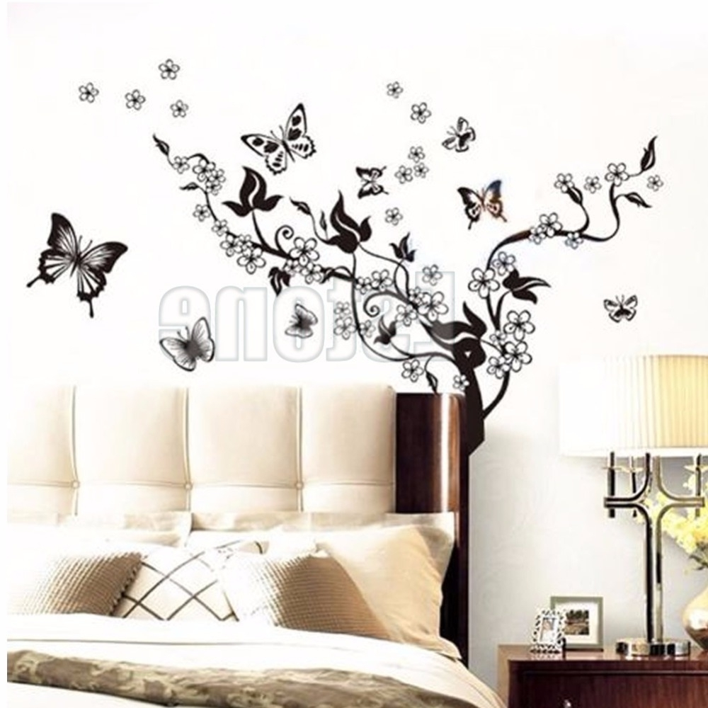2018 1 Set Butterfly Flower Wall Art Decal Vinyl Stickers Home Diy Decor Pertaining To Flower Wall Art (Gallery 2 of 20)