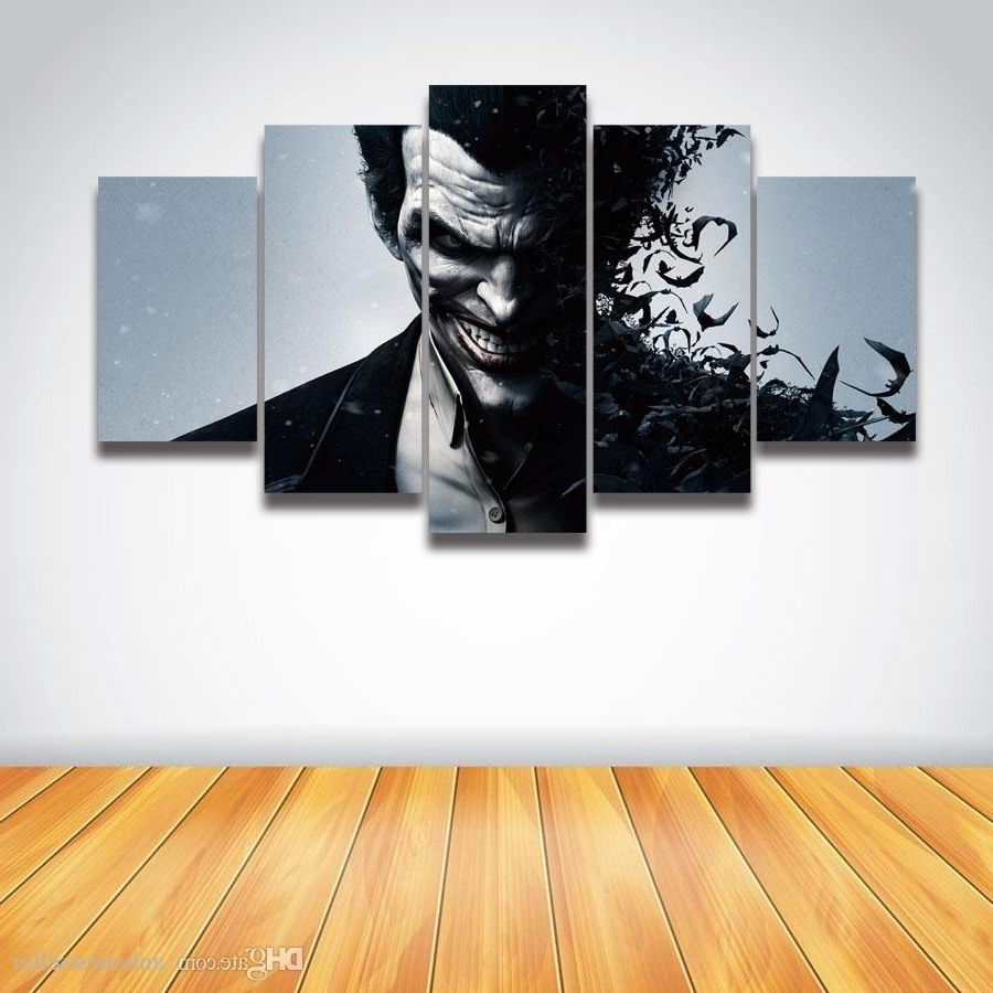 2018 5 Panel Canvas Wall Art Printed Picture Joker Painting For Wall Inside Widely Used Joker Wall Art (Gallery 17 of 20)