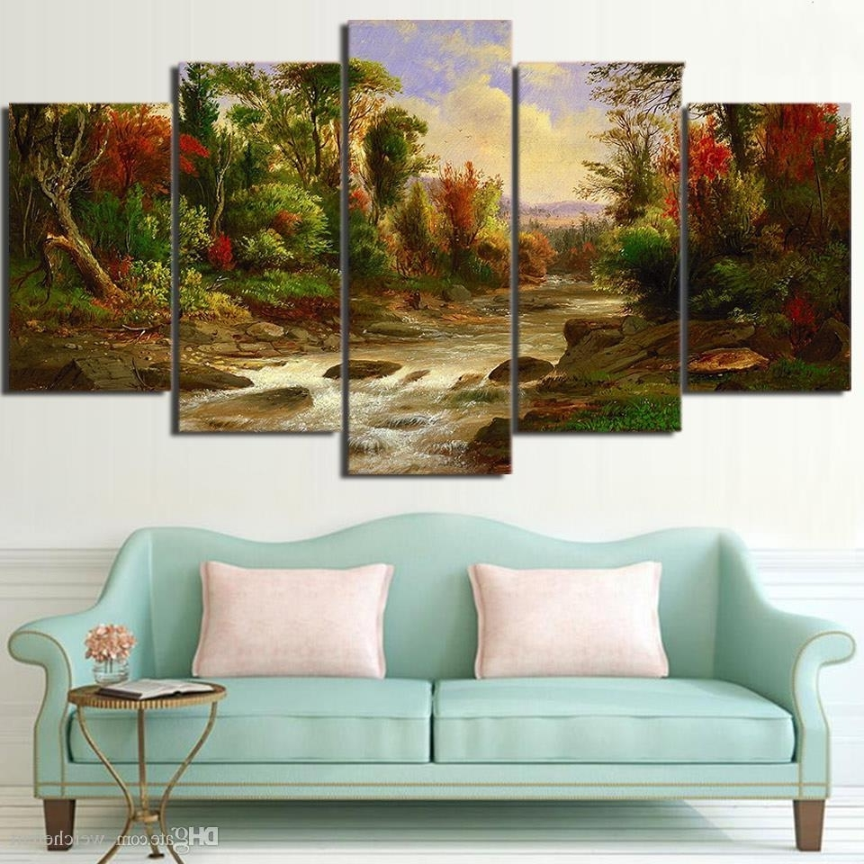 2018 5 Panel Wall Art On Canvas Citadel In Forest Modular Large Inside Famous Cheap Large Canvas Wall Art (Gallery 9 of 20)
