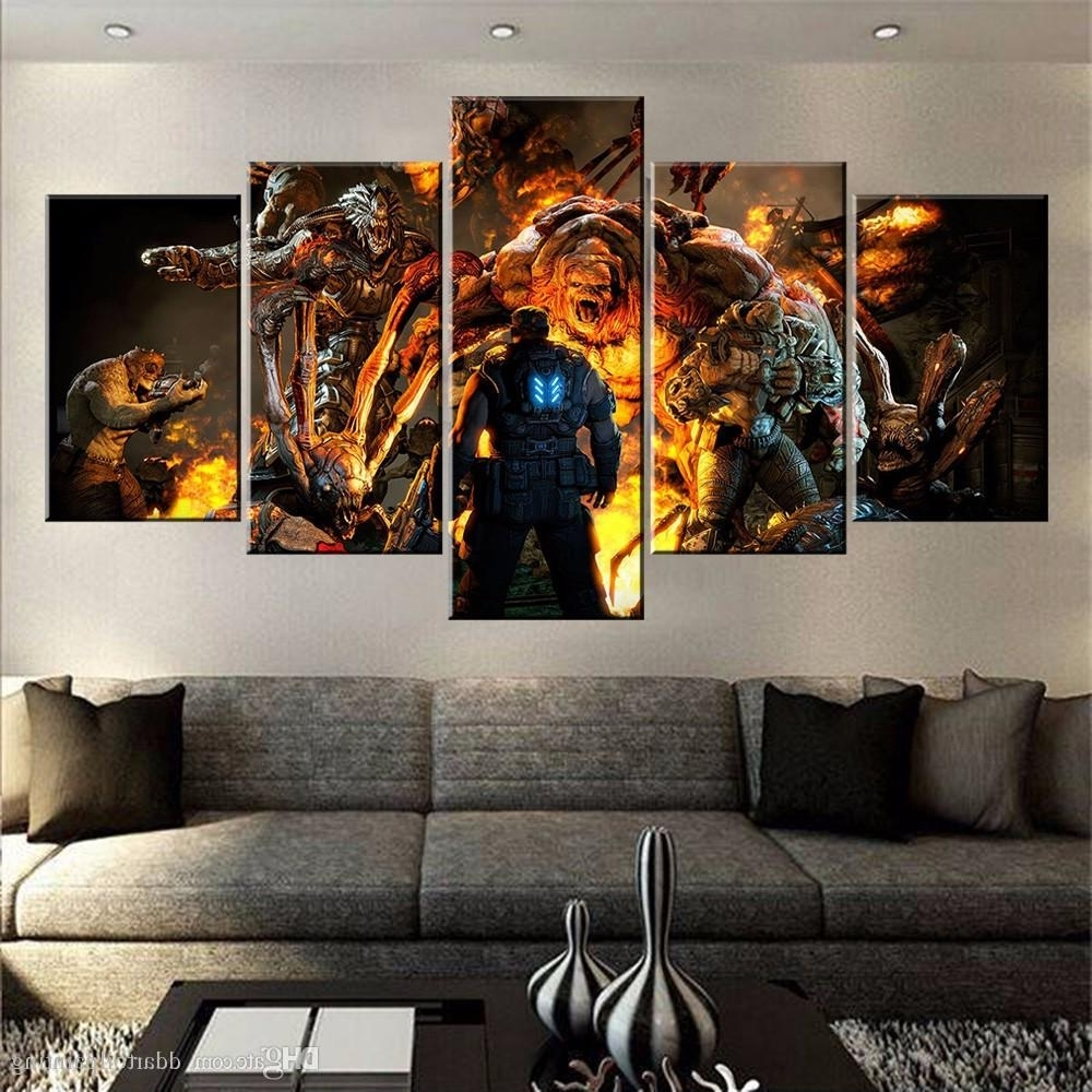 2018 60X32 Canvas Art Print, 5 Panels Game Living Room Wall Art Inside Well Known Multi Panel Wall Art (Gallery 7 of 15)