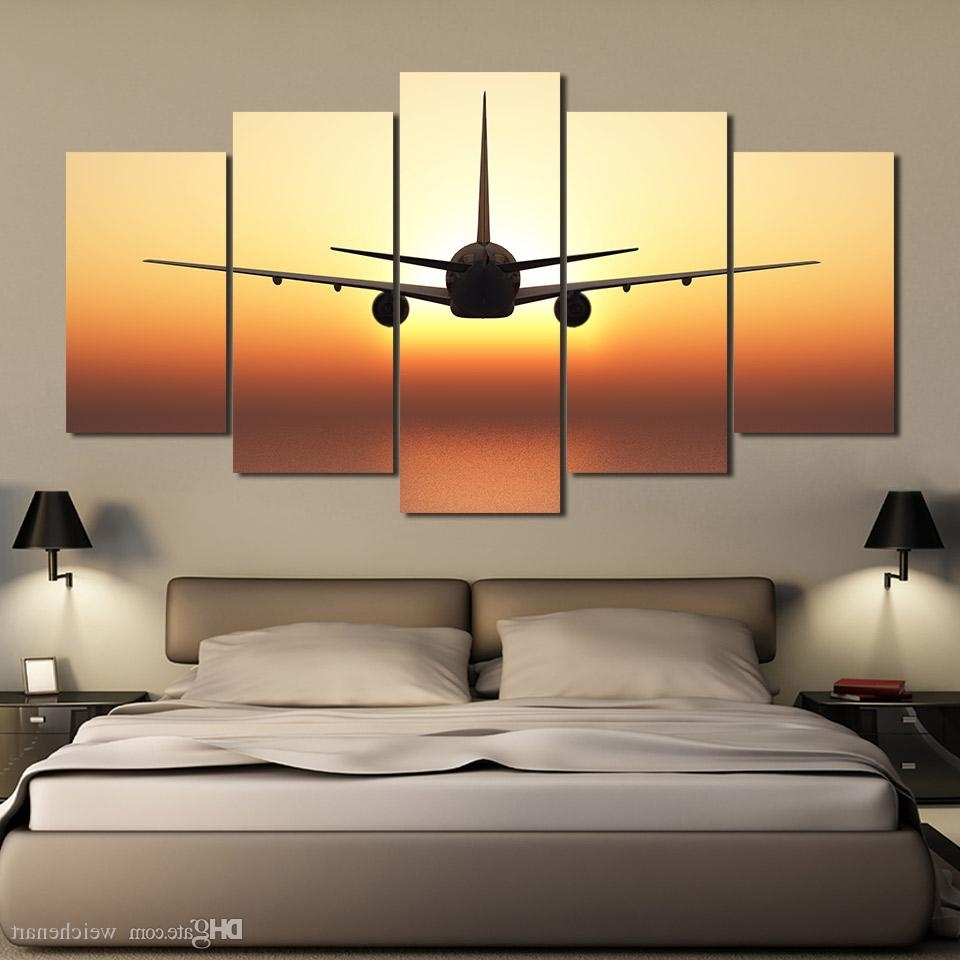 2018 Airplane Wall Art Intended For 2018 5 Panel Wall Art On Canvas Airplane Sunset Wall Pictures For (View 1 of 20)