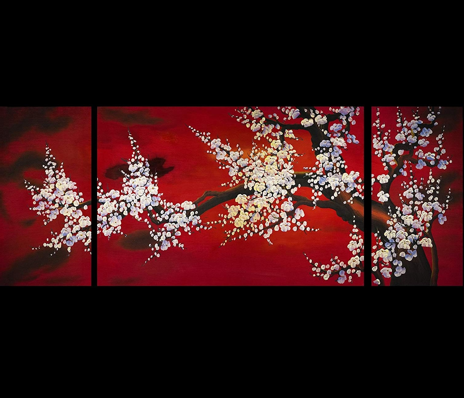 2018 Asian Wall Art Throughout Amazon: Abstract Art Plum Blossom Chinese Feng Shui Painting (Gallery 11 of 15)