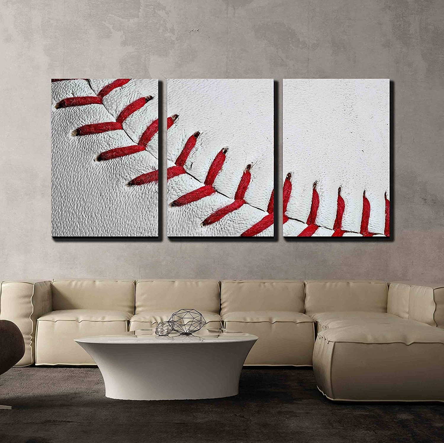 2018 Baseball Wall Art Intended For Amazon: Wall26 – 3 Piece Canvas Wall Art – Baseball Seams (Gallery 3 of 20)