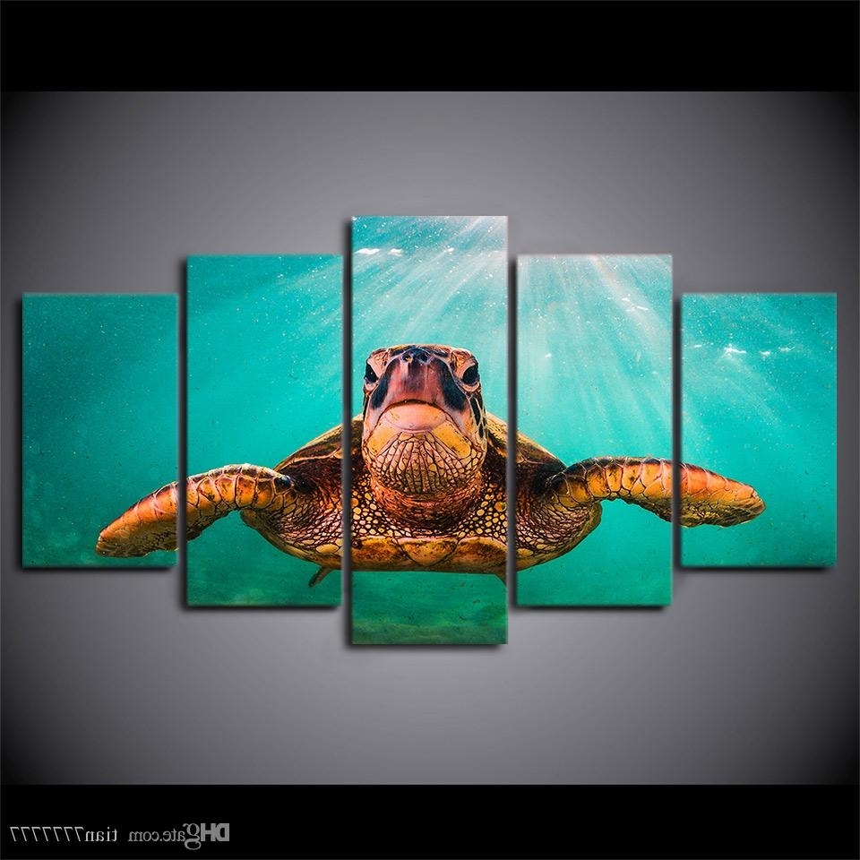 2018 Canvas Print 5 Panel No Frame Painting Wall Art Home Decor In Most Up To Date Sea Turtle Canvas Wall Art (View 1 of 20)