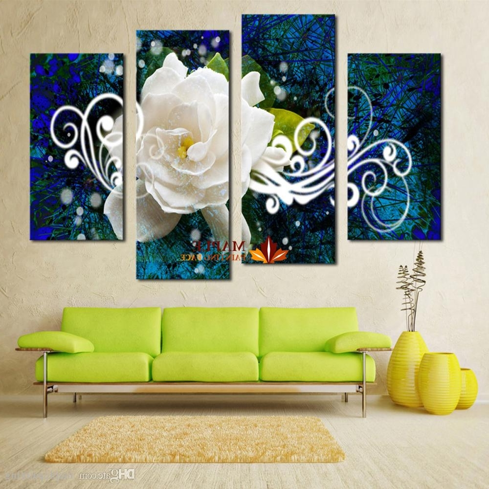 2018 Canvas Prints No Frame 4 Panel Bright Colored Flower Large Hd For Most Recently Released Large Framed Canvas Wall Art (View 4 of 20)