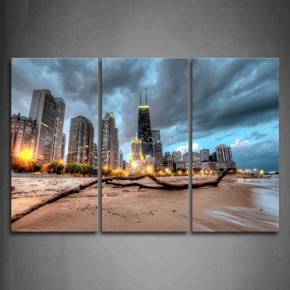 2018 Chicago Wall Art For 3 Piece Wall Art Painting Chicago Trunk On Beach Near Modern (View 1 of 15)