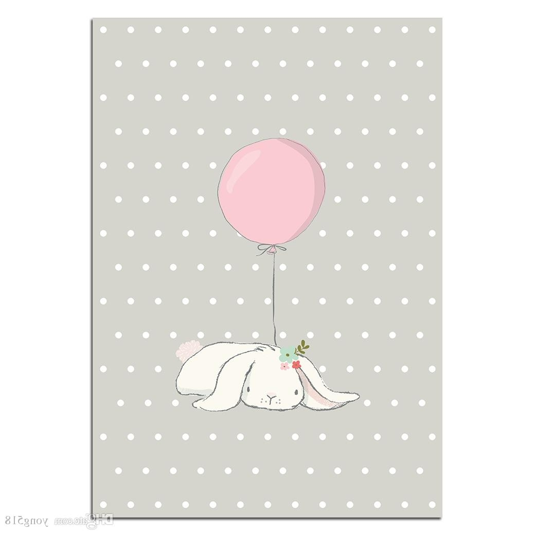2018 Cute Pink Rabbit Bunny Wall Art Canvas Posters Cartoon Animal With Trendy Bunny Wall Art (Gallery 18 of 20)