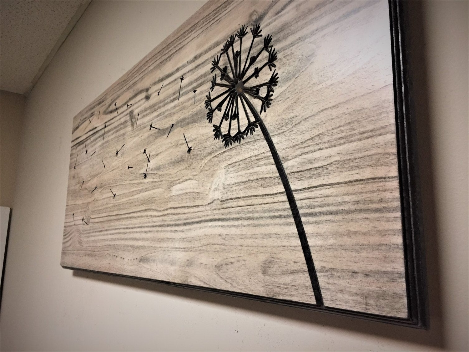 2018 Dandelion Wall Art, Carved, Wood Wall Art, Home Decorhowdyowl On Pertaining To Dandelion Wall Art (View 1 of 20)